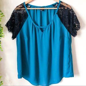Torrid Black Lace Sheer Sleeve Teal Blouse 1X